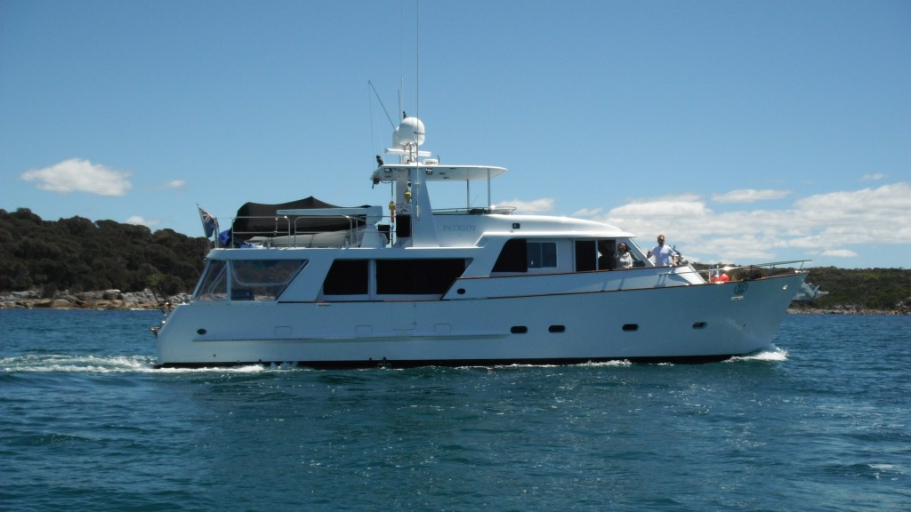 Patriot X waves good bye on its way to Hobart once clearing the St Helens Bar.